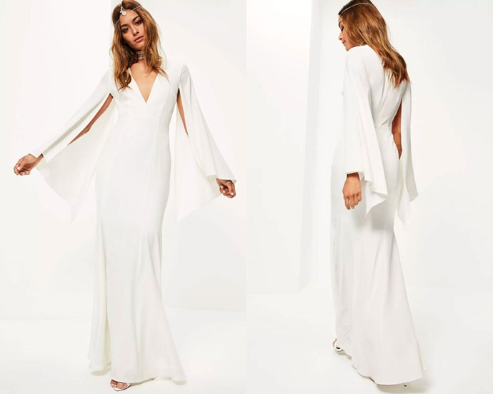 "Dress, $198.96 at [Missguided](https://www.missguidedau.com/bridal-white-v-plunge-cape-sleeve-maxi-dress|target=""_blank""