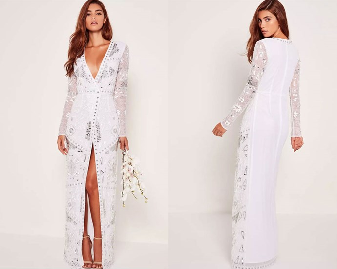 "Dress, $330.95 at [Missguided](https://www.missguidedau.com/bridal-sequin-wrap-maxi-dress-white|target=""_blank""