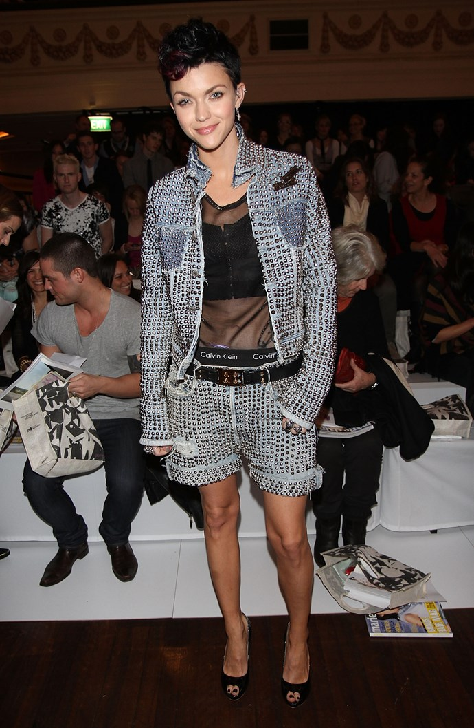 This studded denim short suit is proof there is literally NOTHING Ruby can't wear.