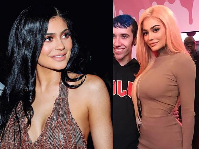 Another day, another hair transformation. Making an appearance at her New York pop up store, Kylie donned the hottest hair colour of the moment: BLORANGE. While it's most likely a wig, we gotta say, this look totally werks on Kylizzle.