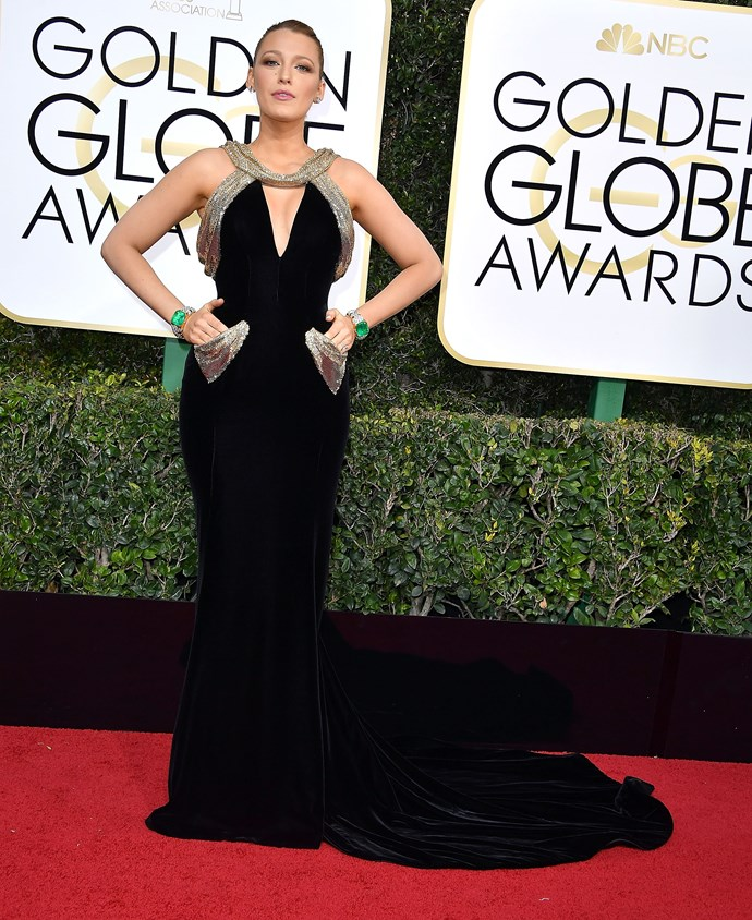 She solidly maintained her red carpet winning streak at the 2017 Golden Globes. Bonus points for the pockets.