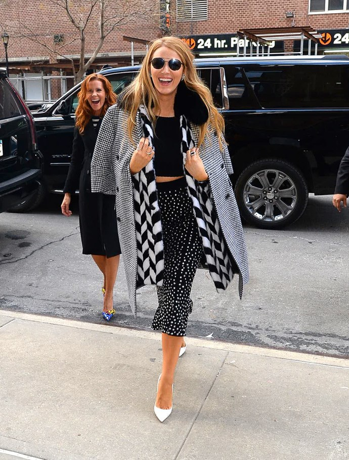 Here she is rocking clashing patterns like a dream during New York Fashion Week.