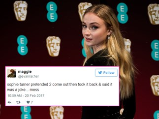 Sophie Turner fakes coming out and Twitter slays her