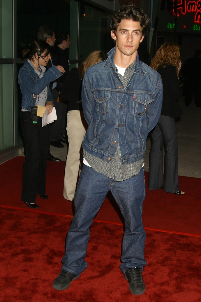 Look at him wearing double denim. #Bless.