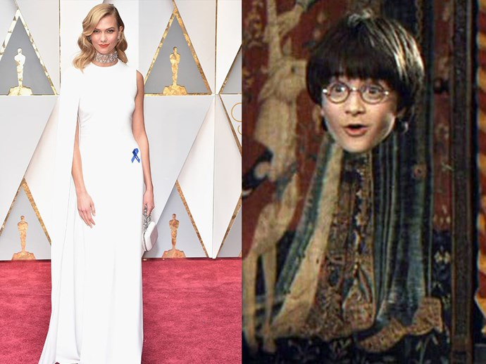 Karlie Kloss is slowly fading into the background, making us think she brought her *Harry Potter* invisibility cloak.