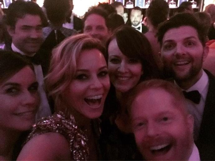 Elizabeth Banks' selfie included Adam Scott and Jesse Tyler Ferguson.