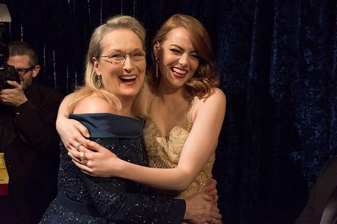 Meryl Streep and Emma Stone shared a backstage hug.