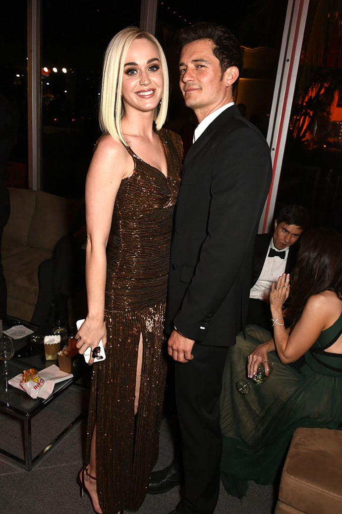 Katy Perry and Orlando Bloom cosied up at the *Vanity Fair* Oscars party.