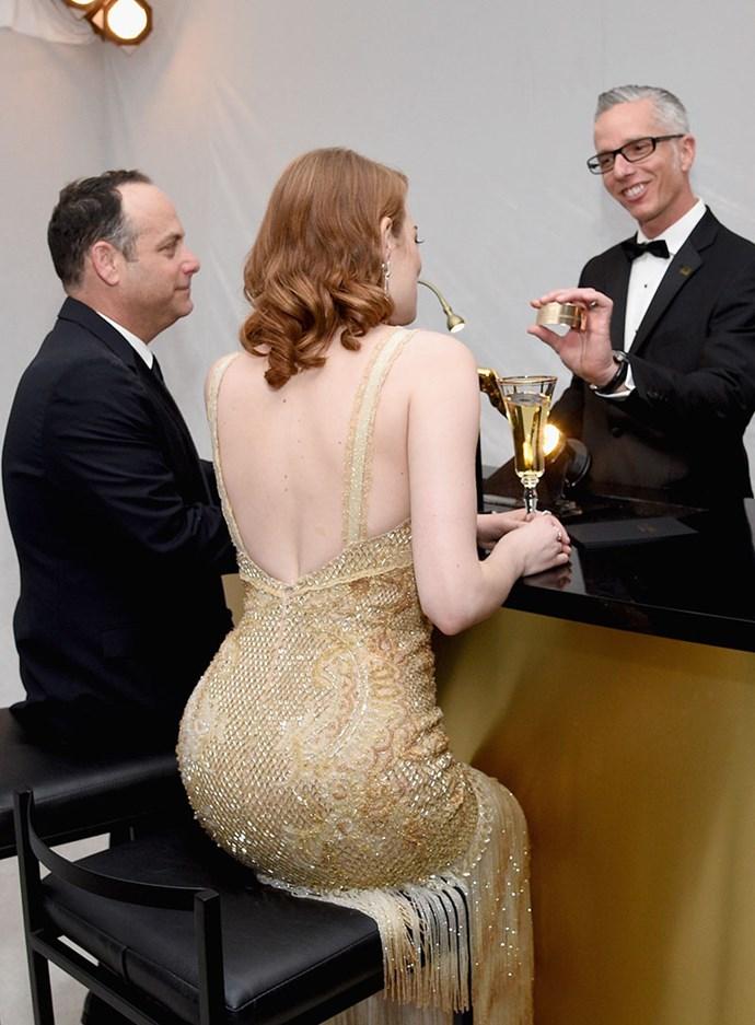 Emma Stone got her Oscar engraved.