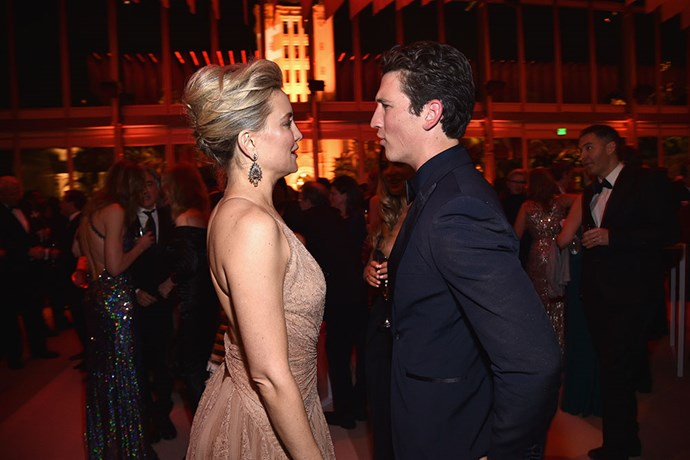 Kate Hudson and Miles Teller exchanged some words.