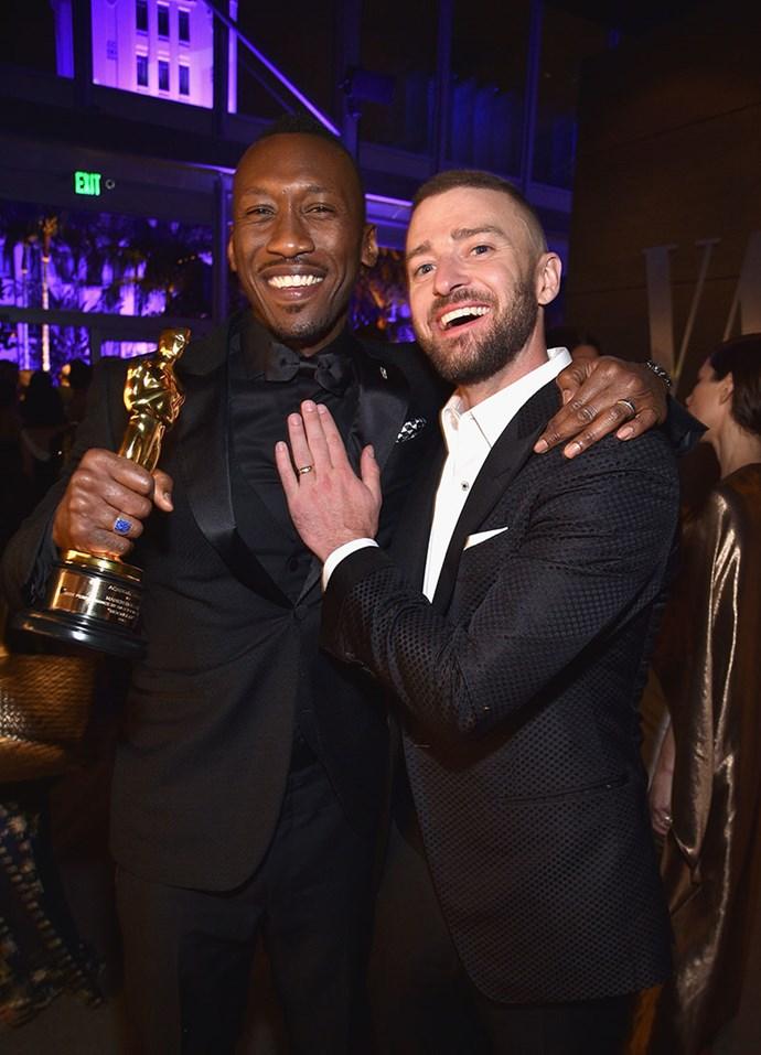 Justin Timberlake congratulated Mahershala Ali.