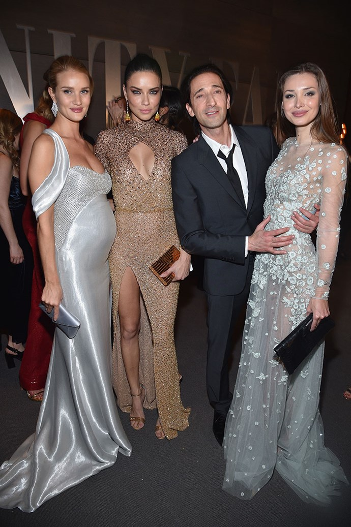 Look at this good-looking foursome: Rosie Huntington-Whiteley, Adriana Lima, Adrien Brody and his girlfriend, Lara Lieto.