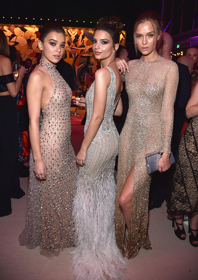 Hailee Steinfeld, Emily Ratajkowski and Josephine Skriver made a sexy, sparkly trio.