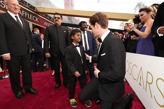 Andrew Garfield got down on his knees to meet Sunny Pawar.