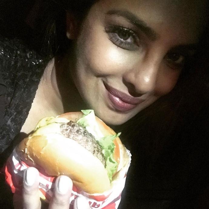 Priyanka Chopra tucked into the In-N-Out burgers.