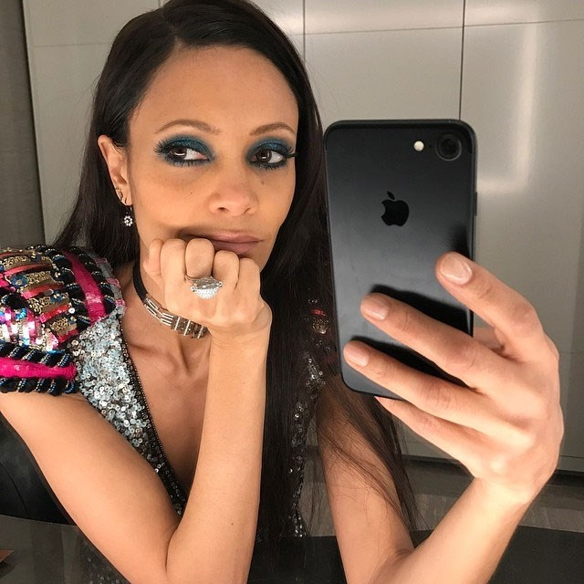 Thandie Newton nailed the bathroom mirror selfie.