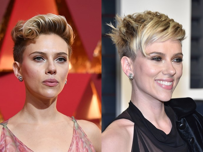 Scar-Jo's tousled quiff was one of the more rock-star styles at the Oscars, but she combed it down for the after party, so the undercut took on a relaxed, pixie feel.