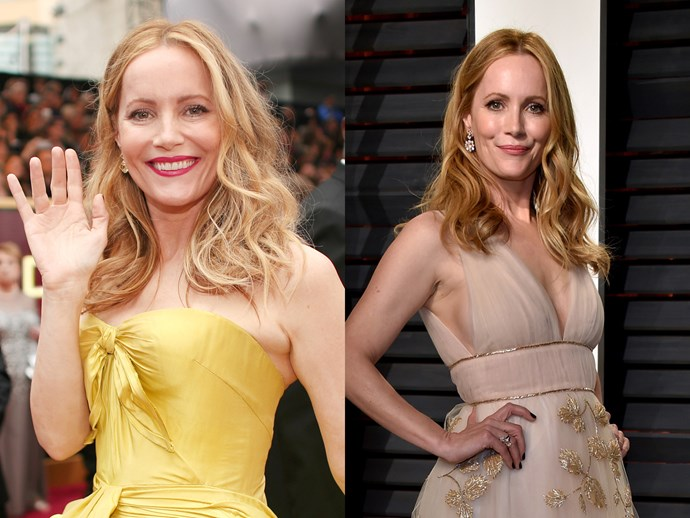 Leslie Mann donned messy, teased-up waves for the awards, but later swapped them for soft sleeker curls that fell from the lengths down. The rose lip change up was a win too.