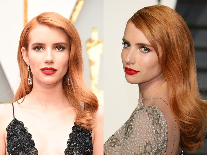 Emma Roberts was the talk of the red carpet in those peach waves and crimson lips. She didn't change her look too much for the after party, but she did brush out the barrel waves for a more relaxed, boho feel.