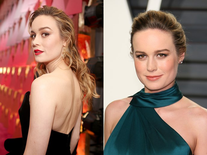WAIT. Some celebs reversed the traditional swap and traded a down 'do for an up 'do. Brie Larson had her loose wet look waves swept up into a plaited chignon and swapped the blue-red lip for a nude. Simple style moves, yes, but they dramatically changed her entire look.