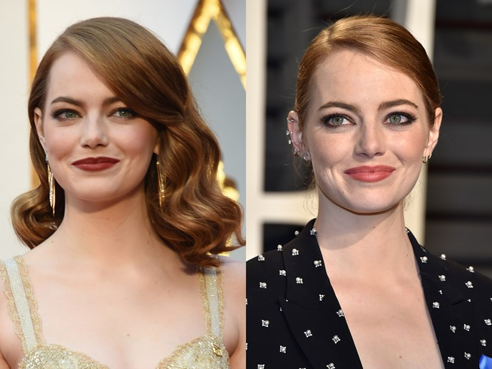 For Emma Stone, letting your hair down equals sweeping it up. After all the anticipation leading up to her acceptance speech, we can see why she was down for a more casual, ready-to-party look.  She traded gold eyes for a smoke sweep, and burgundy lips for a peach tone.