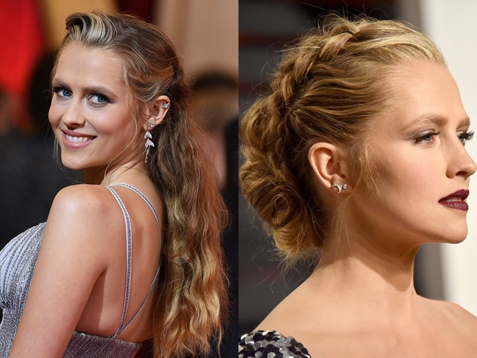 Teresa Palmer followed suit but instead of swapping her Oscars look for something simple, she appeared in this braided chignon masterpiece and a whole new makeup look. Props to her for over delivering on beauty inspo!