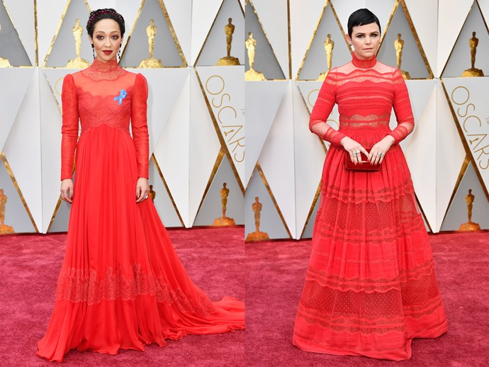 **Ruth Negga** and **Ginnifer Goodwin** in lace red gowns with sheer details, high-necklines and long-sleeves.