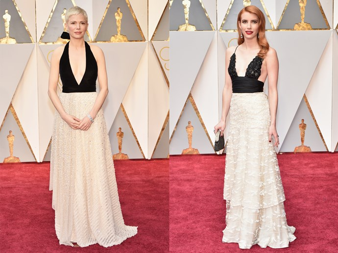 **Michelle Williams** and **Emma Roberts** in dresses with plunging black tops and oyster-coloured skirts.