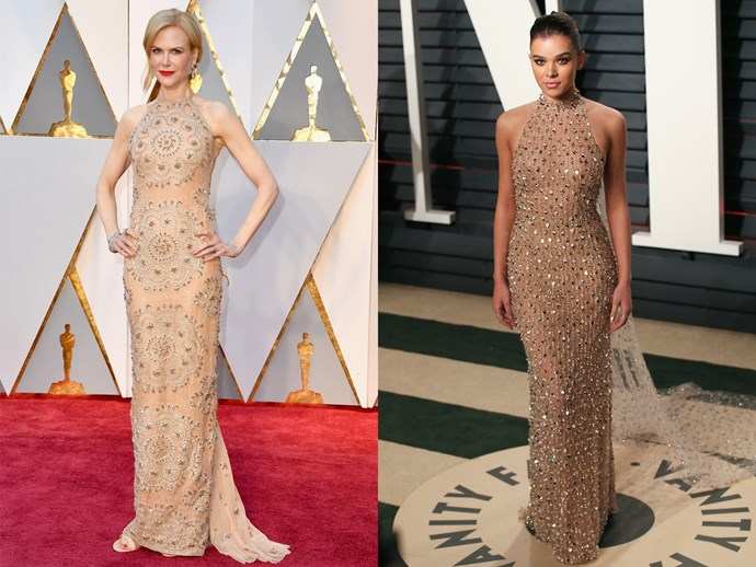 **Nicole Kidman** and **Hailee Steinfeld** in nude halter-neck sheaths with embellishment.