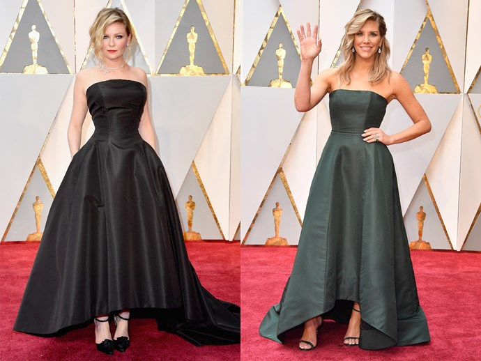 **Kirsten Dunst** and **Charissa Thompson** in dark strapless ball gowns, with cinched waists, high-low hems and boned corsets.