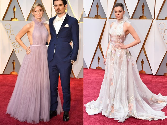 **Olivia Hamilton** and **Hailee Steinfeld** in flowing dresses with ruffled halter-neck tops and cinched waists.