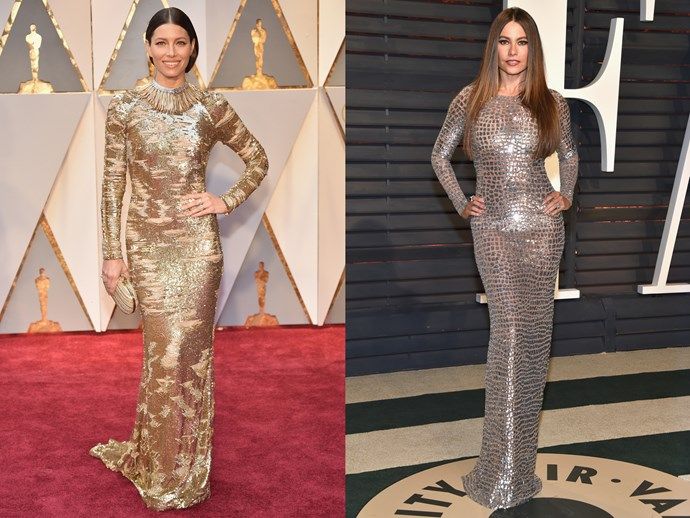 **Jessica Biel** and **Sofia Vergara** in floor-length clinging sheaths with long sleeves and high necks in semi-sheer metallic materials.