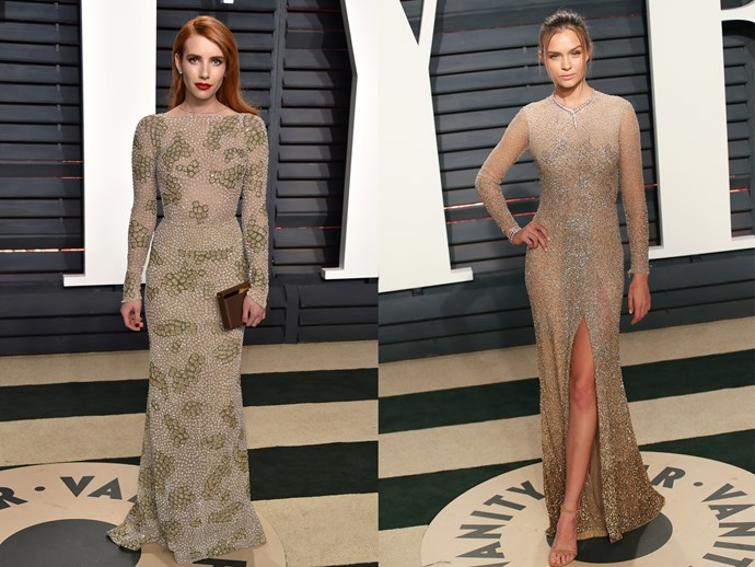 **Emma Roberts** and **Josephine Skriver** in nude-coloured embellished dresses with long sleeves, high necks and tight silhouettes.