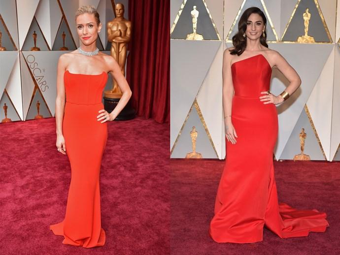 **Kristin Cavallari** and **Sara Bareilles** in A-line red column dresses with strapless necklines.