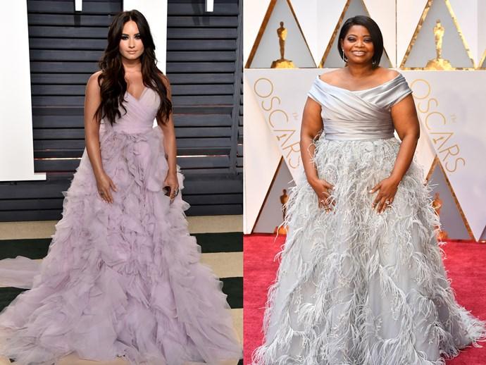 **Demi Lovato** and **Octavia Spencer** in dresses with ruched, criss-cross necklines with a full, feathered/ruffled skirts.