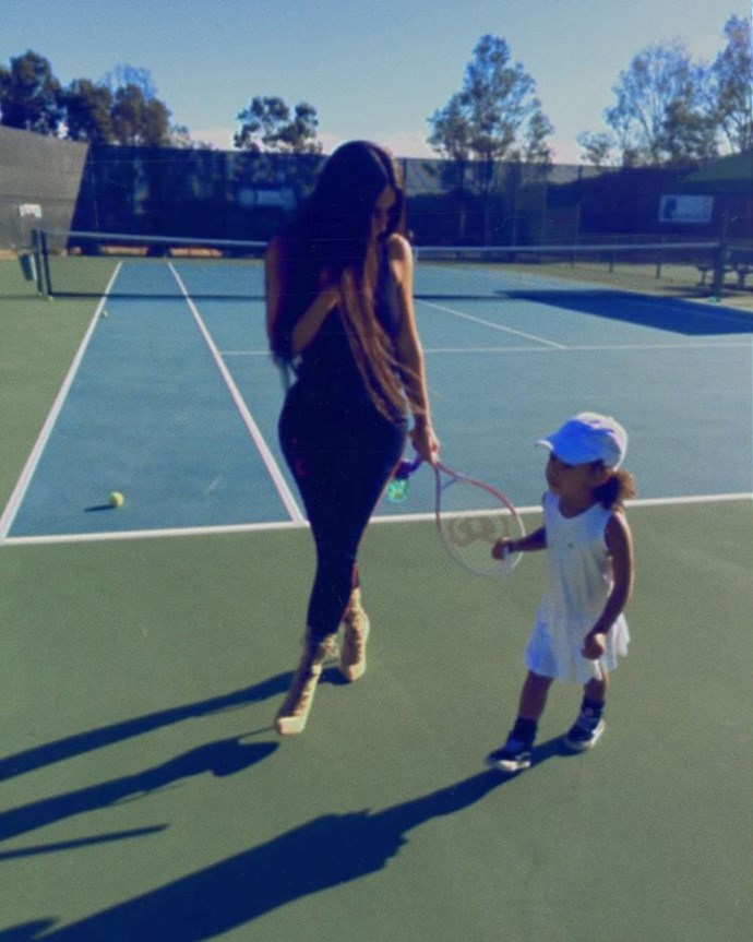 For a recent bout of tennis with her daughter, North, Kim wore these six-inch heeled boots.