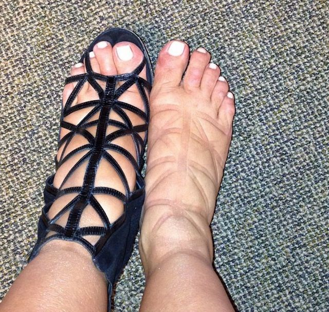Ouch! Kim sported these strappy shoes when she was heavily pregnant with North. Kudos for committing.