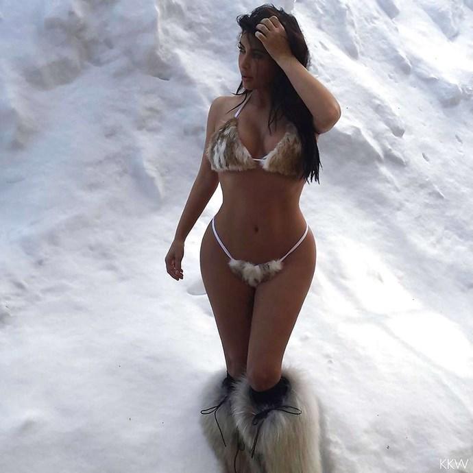 A fur bikini in the snow? Why not?