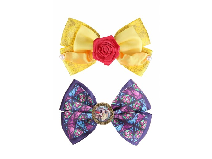 [*Beauty and the Beast* hair bows by Hot Topic](http://www.hottopic.com/product/disney-beauty-and-the-beast-belle-dress-cosplay-hair-bow/10481116.html).