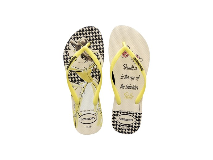[*Beauty and the Beast* thongs by Havaianas](https://us.havaianas.com/women-sandals/slim-princess-sandal-beige-yellow.html).