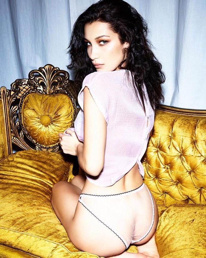 Bella Hadid's hella sexy *LOVE* mag shoot, where she wore totes sheer panties.