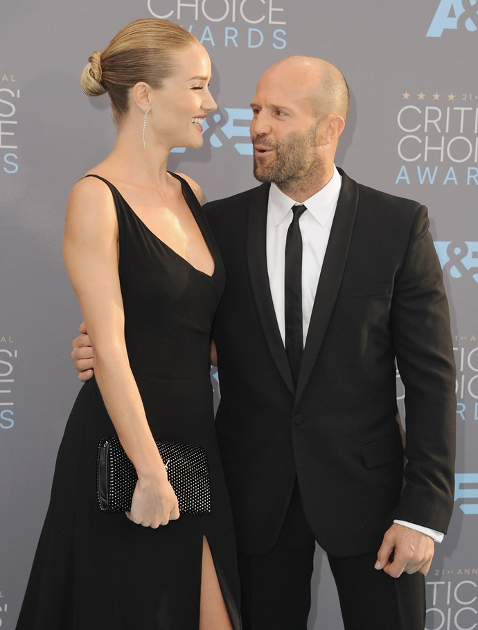 **1. JASON STATHAM AND ROSIE HUNTINGTON-WHITELEY**  Age difference: 20 years. Jason is 49 and Rosie 29.