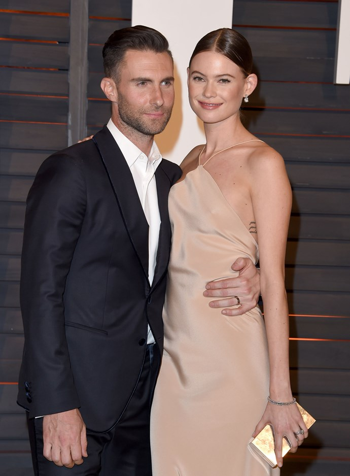 **7. ADAM LEVINE AND BEHATI PRINSLOO**  Age difference: 10 years. Adam is 37 and Behati is 27.