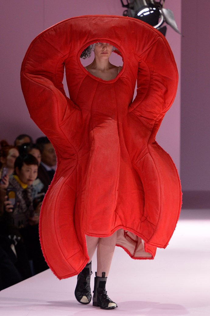 **WHERE:** Comme des Garcon  **WHAT:** Something from high school sex-ed class.