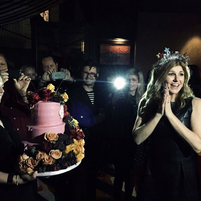 **Friday Night Lights**  For the flawless Connie Britton's 50th birthday, there was the tiniest of *FNL* reunions, when one of her old students came along...