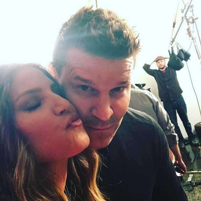 "**Angel**  Charisma Carpenter and David Boreanaz, AKA Cordy and Angel, took this sneaky selfie while at a photo shoot together... What for, you ask? We're not sure. All we know is that David hinted he saw ""many"" more *Buffy*-verse pals. Is a reboot coming?!?!"