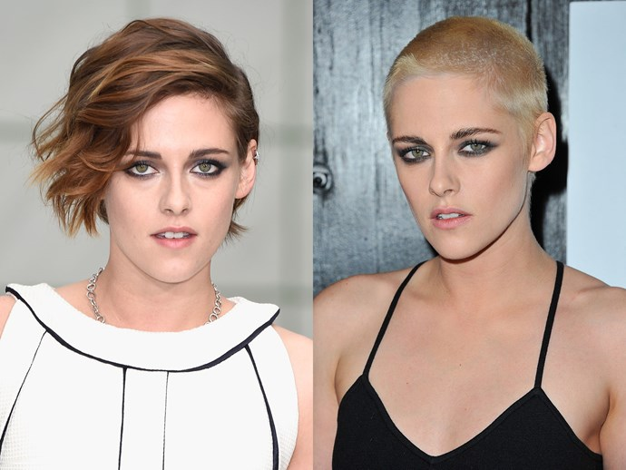 It's official: Kristen Stewart looks like a million dollars no matter what. The *Twighlight* actress recently bleached and shaved her head. We think this edgy new look suits her to a tee.