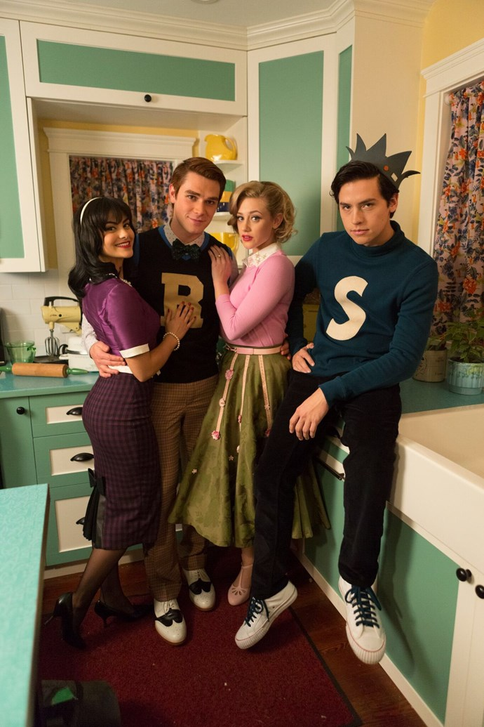 Veronica Lodge (Camila Mendes), Archie Andrews (KJ Apa), Betty Cooper (Lili Reinhart) and Jughead Jones (Cole Sprouse.)