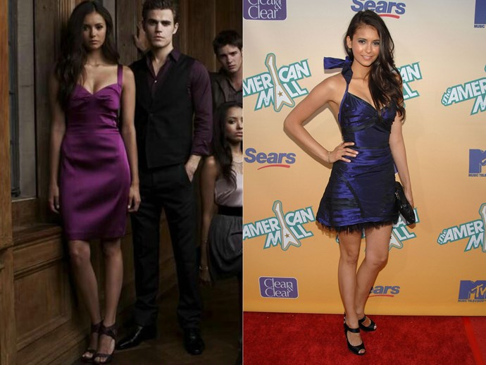 A mini purple dress with rouching around the bust? Another event go-to (apparently).