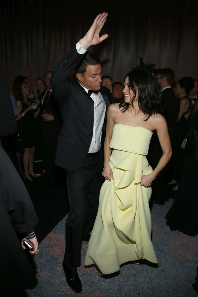 **January 2015**  Channing and Tatum give *dream couple* a whole new meaning when they're photographed dancing together backstage at the Golden Globes.